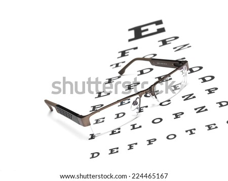 Glasses with an eye chart - stock photo