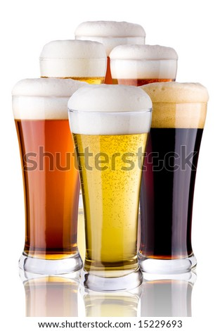 glasses with beer - stock photo
