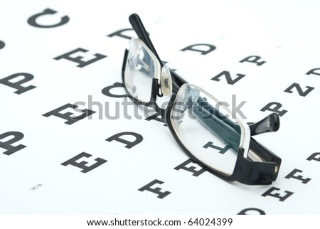 Glasses with eye chart isolated on white - stock photo