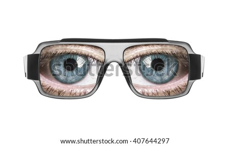 Glasses with the eyes isolated on white background. - stock photo