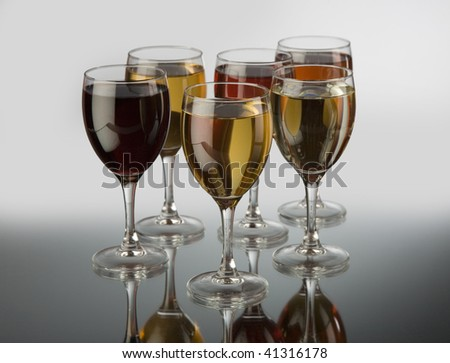 Glasses with wine - stock photo
