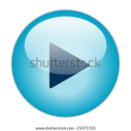 Glassy Blue Play Icon - stock photo