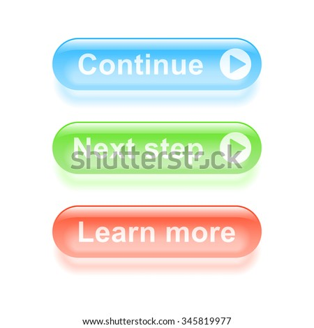 Glassy continue buttons. 2d illustration - stock photo