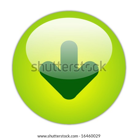 Glassy Green Download Icon Button - stock photo