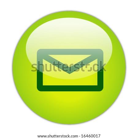 Glassy Green Mail Icon Button - stock photo