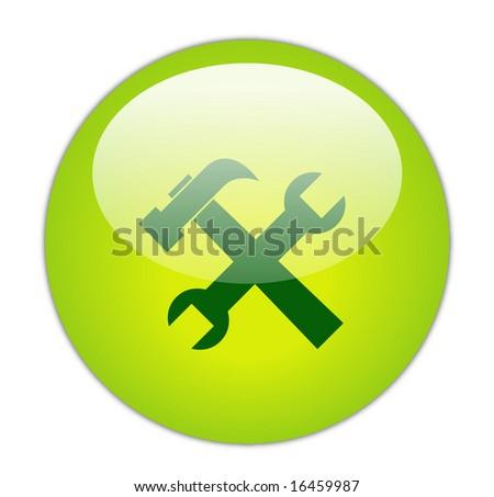 Glassy Green Tools Icon Button - stock photo