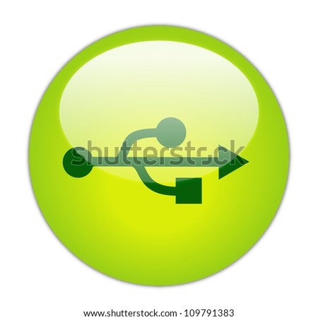 Glassy Green USB Symbol - stock photo