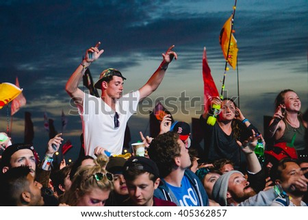 Glastonbury, Somerset, UK - June 28, 2015 - Festival goers enjoying Chemical Brothers playing Glastonbury Festival's Other Stage - stock photo