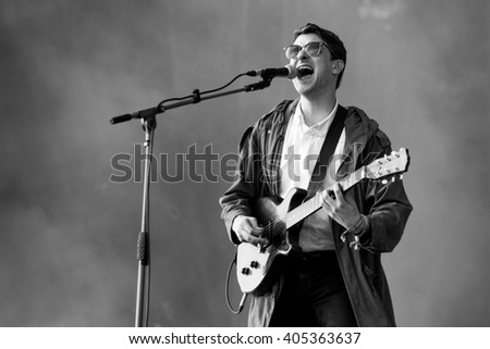 Glastonbury, Somerset, UK - June 28, 2015 - Jamie T playing Glastonbury Festival's Other Stage - stock photo