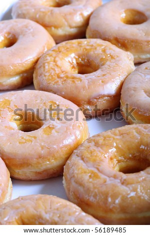 glazed doughnuts vertical - stock photo