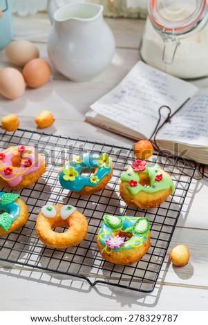 Glazed sweet and tasty donuts - stock photo