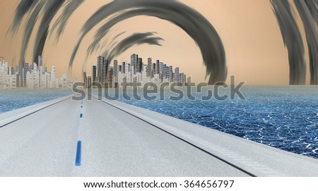 Gleaming city with surreal clouds - stock photo