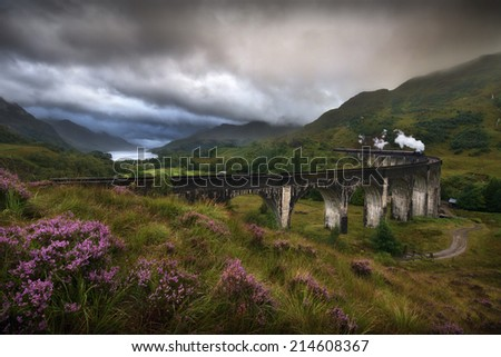 Glefinnan viaduct, Scottish Highlands, United Kingdom, in a stormy day - stock photo