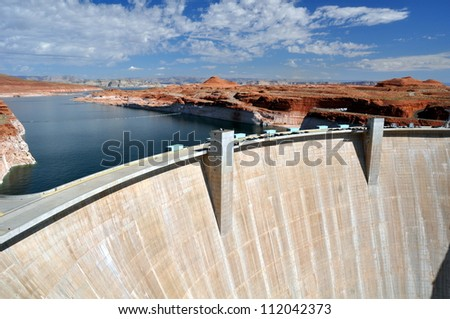 Glen Canyon dam on the Colorado River and Lake Powell in Arizona, US - stock photo