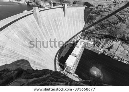 Glen Canyon Dam on the Colorado river in Arizona black and white. - stock photo