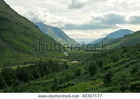 Glen Etive in the Scottish Highland - stock photo