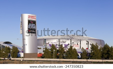GLENDALE, AZ - JANUARY 24, 2015: University of Phoenix Stadium, home of Arizona Cardinals; Super Bowl XLIX takes place in Phoenix Metro with a game between Patriots and Seahawks on February 1, 2015 - stock photo