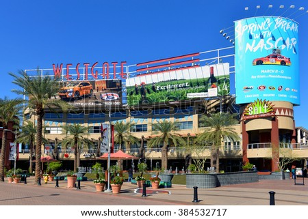 GLENDALE, AZ, USA - FEB 25, 2016:  A portion of the central court of the Westgate Entertainment District which houses the Gila River Arena, home of the NHL team Arizona Coyotes - stock photo