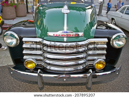 GLENDALE/CALIFORNIA - JULY 19, 2014: 1953 Chevy 3100 Pick-Up Truck owned by Fred Borquez at the Glendale Cruise Nights Car Show July 19, 2014 Glendale, California USA  - stock photo