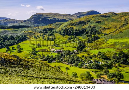 Glenridding seen from slopes of Sheffield Pike - stock photo