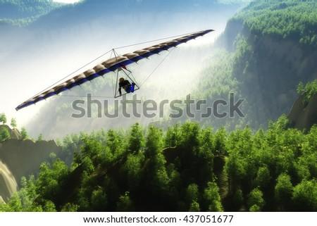 Glider flight over the landscape.3D render - stock photo