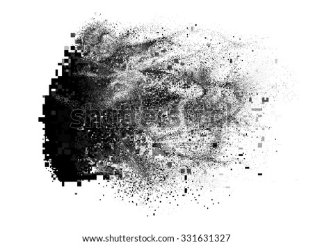 Glitch element looks like a paint splatter, but consists of pixels - stock photo