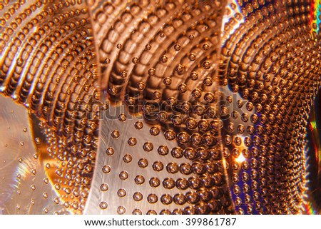 glitter air bubbles in the glass, gold  background abstract texture - stock photo