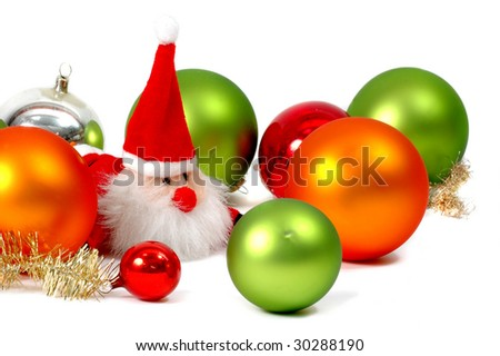 glitter balls with santa claus - stock photo