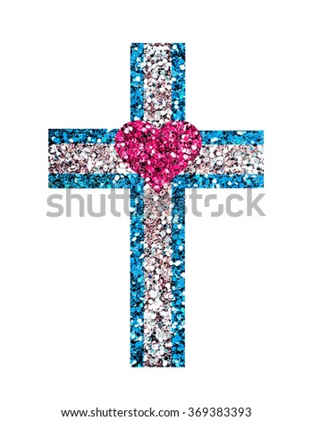 Glitter cross, symbol of the Christian faith on a white background - stock photo