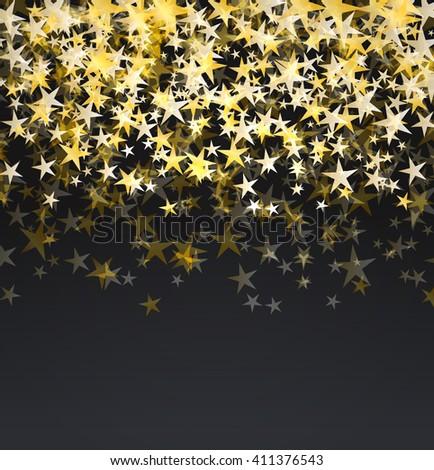 glitter golden stars falling over black background. abstract celebration raster background - stock photo