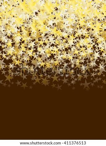 glitter golden stars falling over brown background. abstract celebration raster background - stock photo