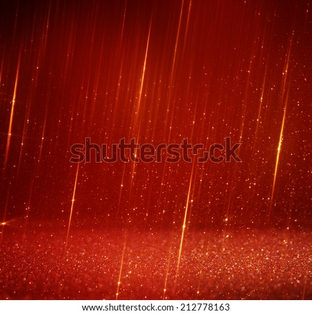 glitter red lights background. abstract red and gold background . defocused . - stock photo