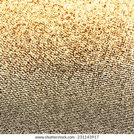 Glitter vintage golden lights background. Beautiful Christmas Glittering sparkles dust on background, shallow DOF - stock photo