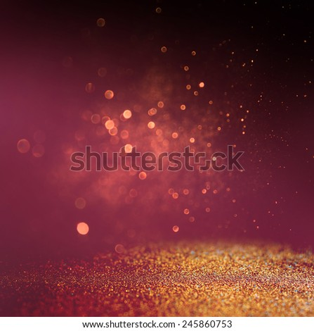 glitter vintage lights background. gold, red and purple. defocused  - stock photo