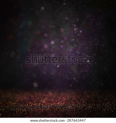 glitter vintage lights background. light silver , gold, purple and black. defocused.  - stock photo