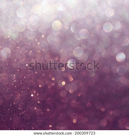 glitter vintage lights background. white and purple. defocused - stock photo