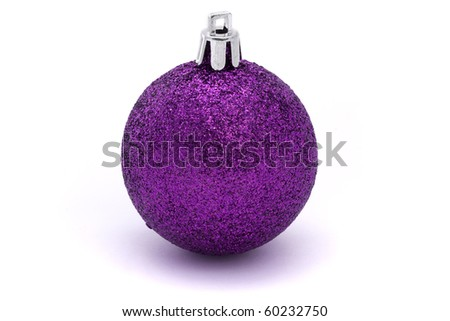 glittering purple christmas bauble over white - stock photo