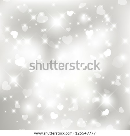 Glittery lights silver Valentine's day background from hearts. For vector version, see my portfolio. - stock photo