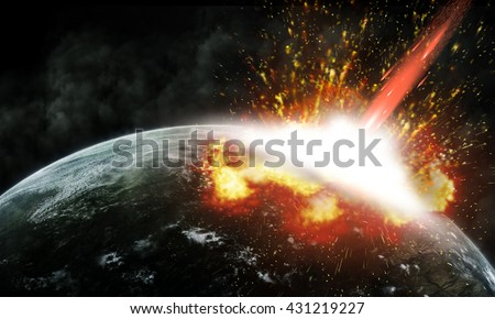 Global accident - collision of an asteroid with the Earth. - stock photo