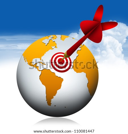 Global And Dart for Business Concept With Blue Sky Background - stock photo