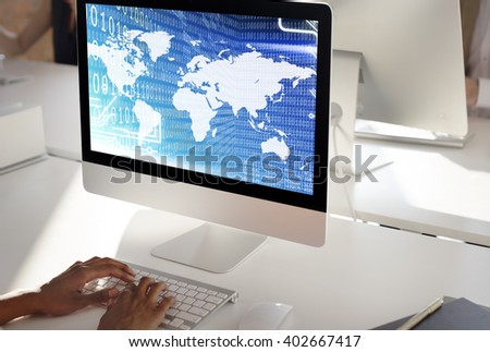 Global Binary Code Digits Technology Software Concept - stock photo