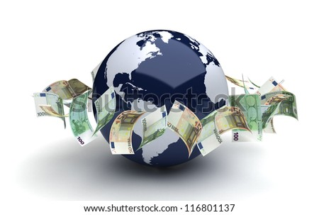 Global business concept with euro (computer generated image) - stock photo