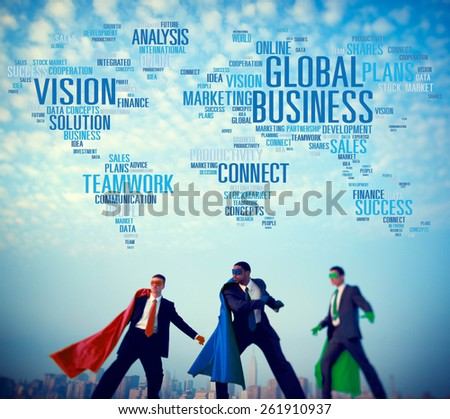 Global Business Connect Vision Solution Teamwork Success Concept - stock photo