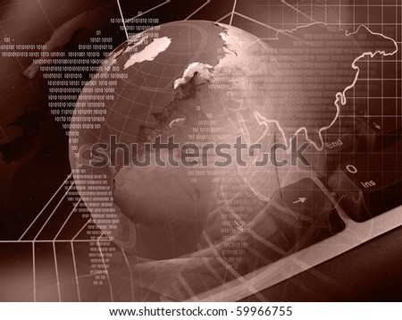 Global business - globe, digits and cobweb on space background. - stock photo