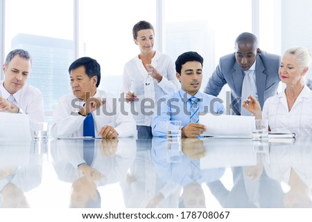 Global Business Meeting with Multi-ethnic People - stock photo