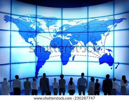 Global Business People Corporate World Map Connection Concept - stock photo