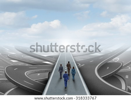 Global business people group walking in a clear forward path on a road surrounded by tangled streets as a symbol of a team or organization overcoming the challenge of confusion. - stock photo