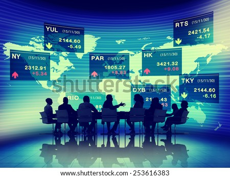 Global Business People Meeting Stock Exchange Finance Concept - stock photo