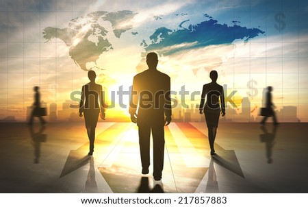 Global Business people team silhouettes - stock photo