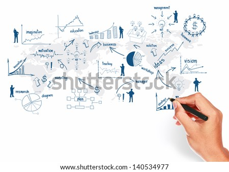 Global business plan concept presentation, And hand with pen creative drawing business strategy plan concept idea on world map background, isolated on white - stock photo